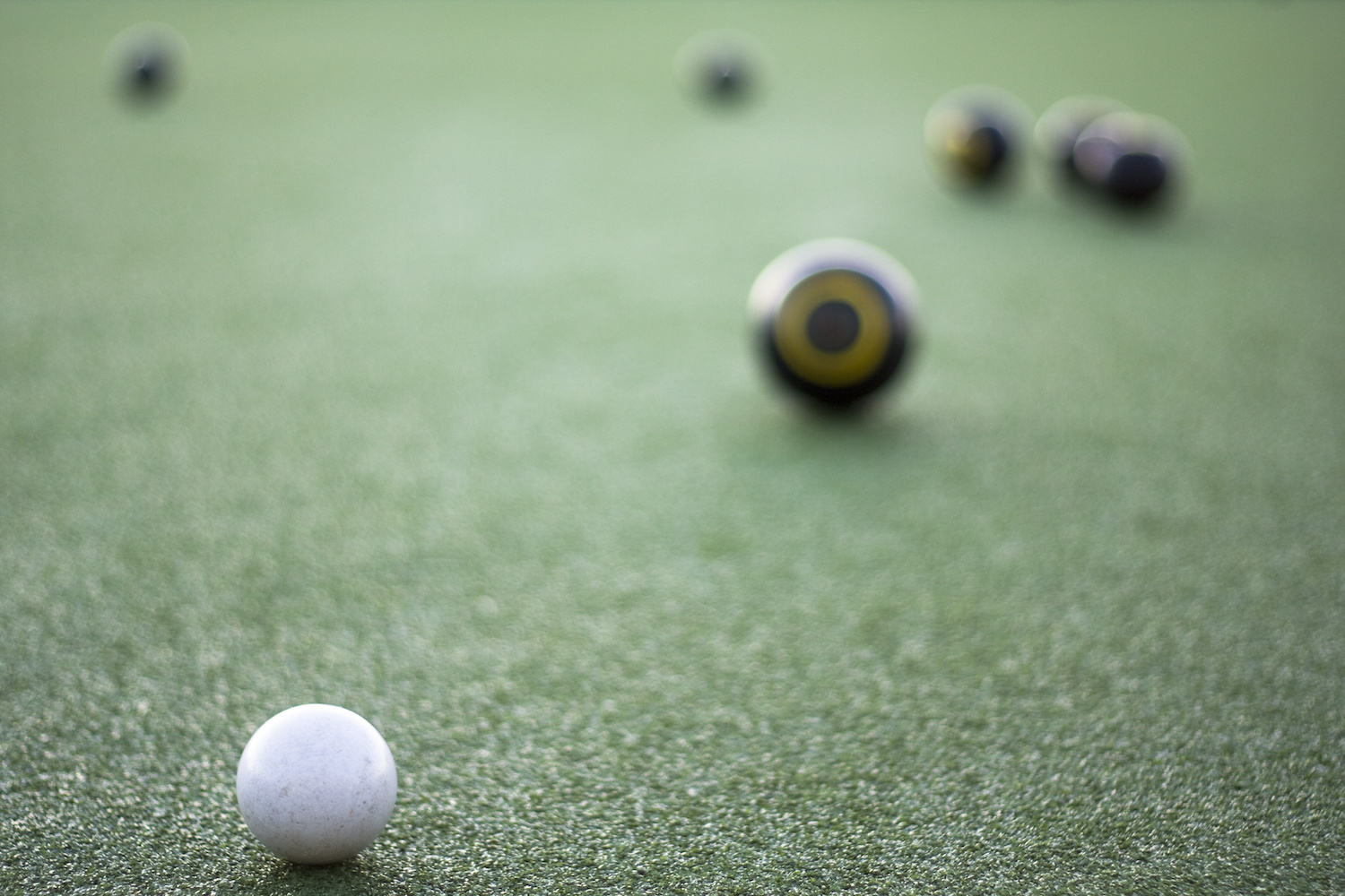 Lawn Bowls Focussed On Jack